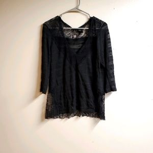 BKE Boutique Top with Lace Detail